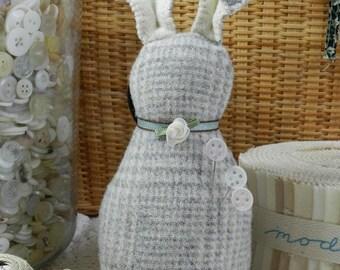 Brynwood Needleworks Harris The Tweed Rabbit Pincushion Pattern, Rabbit Pincushion Pattern, Wool Rabbit Pincushion Pattern