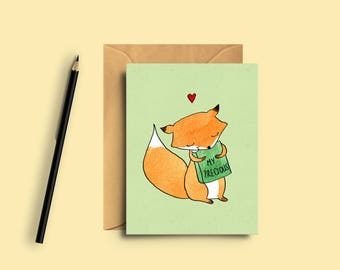 Mini card for booklovers - To give with now - Gift - bookworm - greetings card - fox - my precious - the yellow cat studio