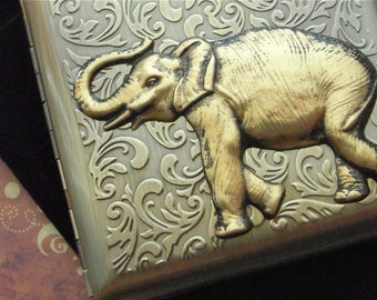 Elephant Cigarette Case Extra Big Antiqued Brass Tone Metal Wallet Gothic Victorian Steampunk Safari Animal Vintage Inspired