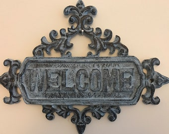 Welcome Sign or Plaque - Cast Iton - Farmhouse Vintage -French Country Decor - Rustic Blue