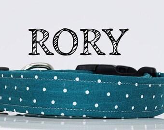 Rory - Teal Polka Dot Handmade Collar