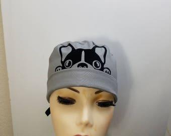Surgical Cap ponytail stile, scrub caps, personalized-French Bulldog  - Cotton 100%