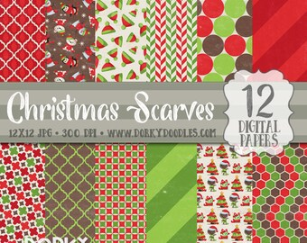 Christmas Paper Pack, Cute Christmas Animals and Scarves Digital Scrapbook Paper - Red and Green Papers