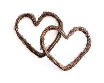 Large Grapevine Hearts / large vine hearts . twig hearts . vine wedding . grapevine wreath . stick hearts . large hearts