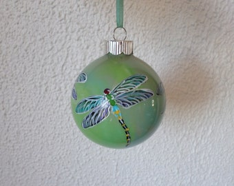 Hand painted ornament, dragonfly gift