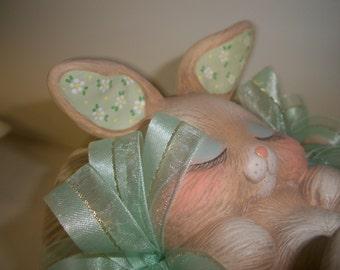Ceramic Easter bunny basket,trinket box,candy dish