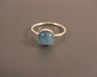Sterling Silver Ring with Blue Fused Glass Cab