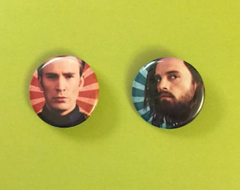 Steve Rogers / Bucky Barnes / Captain America / Winter Soldier Pinback Buttons