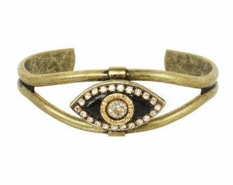 Evil Eye Cuff Bracelet in Black and Gold with Swarovski Crystals Handmade by Michal Golan / One size fits all