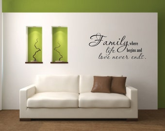 Wall Decal Quote - Family where life begins Vinyl Wall Decal  - Vinyl Wall Decal Quote - Family Wall Decal - Family Love Vinyl Wall Decal