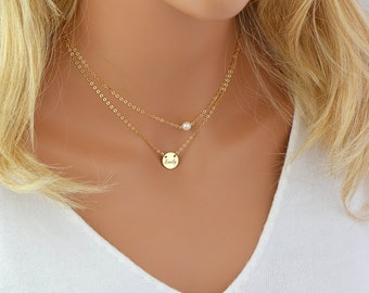 Dainty Pearl Necklace, Single Pearl, Freshwater Pearl Necklace, Dainty Gold Chain, 14k Gold Filled, Rose Gold Filled, Sterling Silver