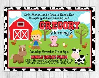 Farm Boy Birthday Invitation