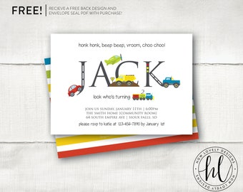 Transportation Invitation  | Car Birthday Invitation | Truck Party Invitation | Boy Birthday Invite | Automobile Invite | Train Invite