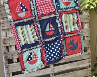 Nautical Quilt Mini Crib Bedding - Red / Green / Blue Bedding Anchor Comforter Nursery Bedding Boy - Baby Comforter Rag Quilt