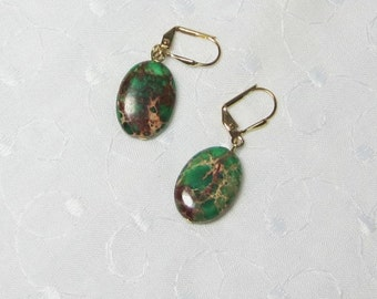 Earrings Emerald Green and Tan Brown Swirl Turquoise Leverback or FishHook Gold or Silver