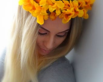 Orange Flower Crown, Fall Flower Crown, Floral Crown, Flower Headband, Autumn Flower Crown