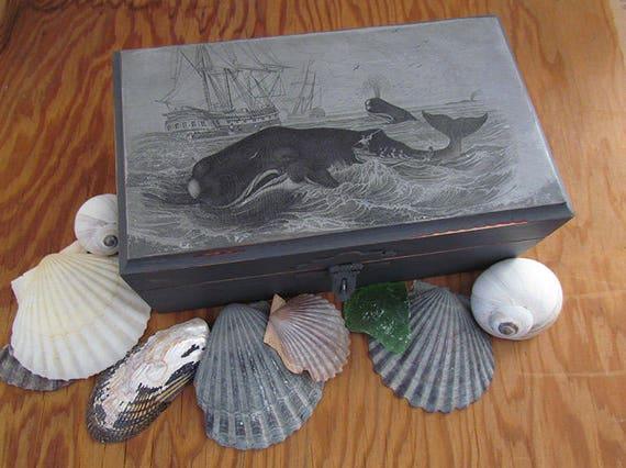 Whale Hunt Rustic Wooden Box Nautical theme decorative