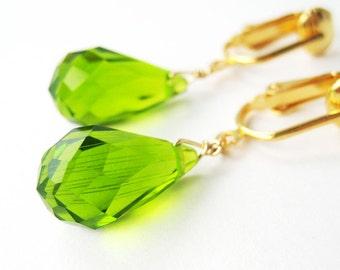 Apple Green Clip On Earrings, Gold Clip-ons, Facted Teardrop Dangle Ear Clips, Handmade, Peridot Green