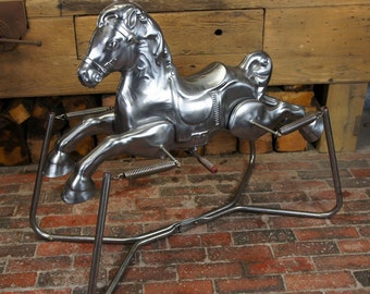 Antique Retro Polished Childs rocking Horse