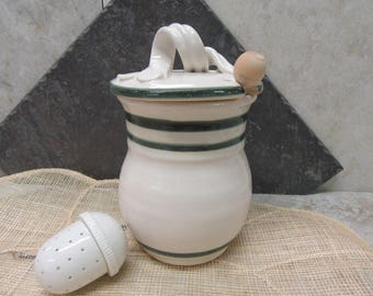 Honey jar, honey container, canister, green & white pottery, made in Montana, honey pot, stoneware