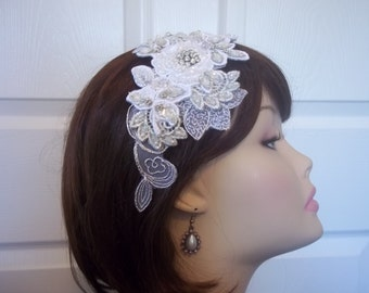 Bridal Headband, White Lace, Rhinestone Crystal - Bridal Hairpiece - Lace and Rhinestone Bandeau - Flapper Headband - Winter Wedding