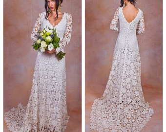Rustic BOHO WEDDING DRESS. Simple Crochet Lace Bohemian Wedding Dress w/ Long Sleeves and Train.  Vintage Style Crochet Lace Wedding Dress