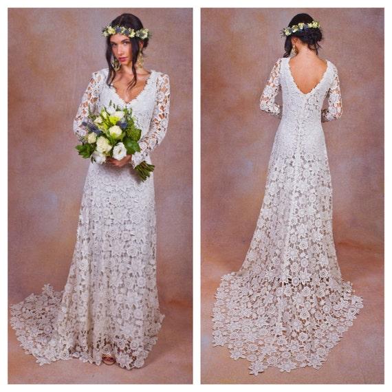 Rustic Wedding Dresses: Rustic BOHO WEDDING DRESS. Simple Crochet Lace Bohemian