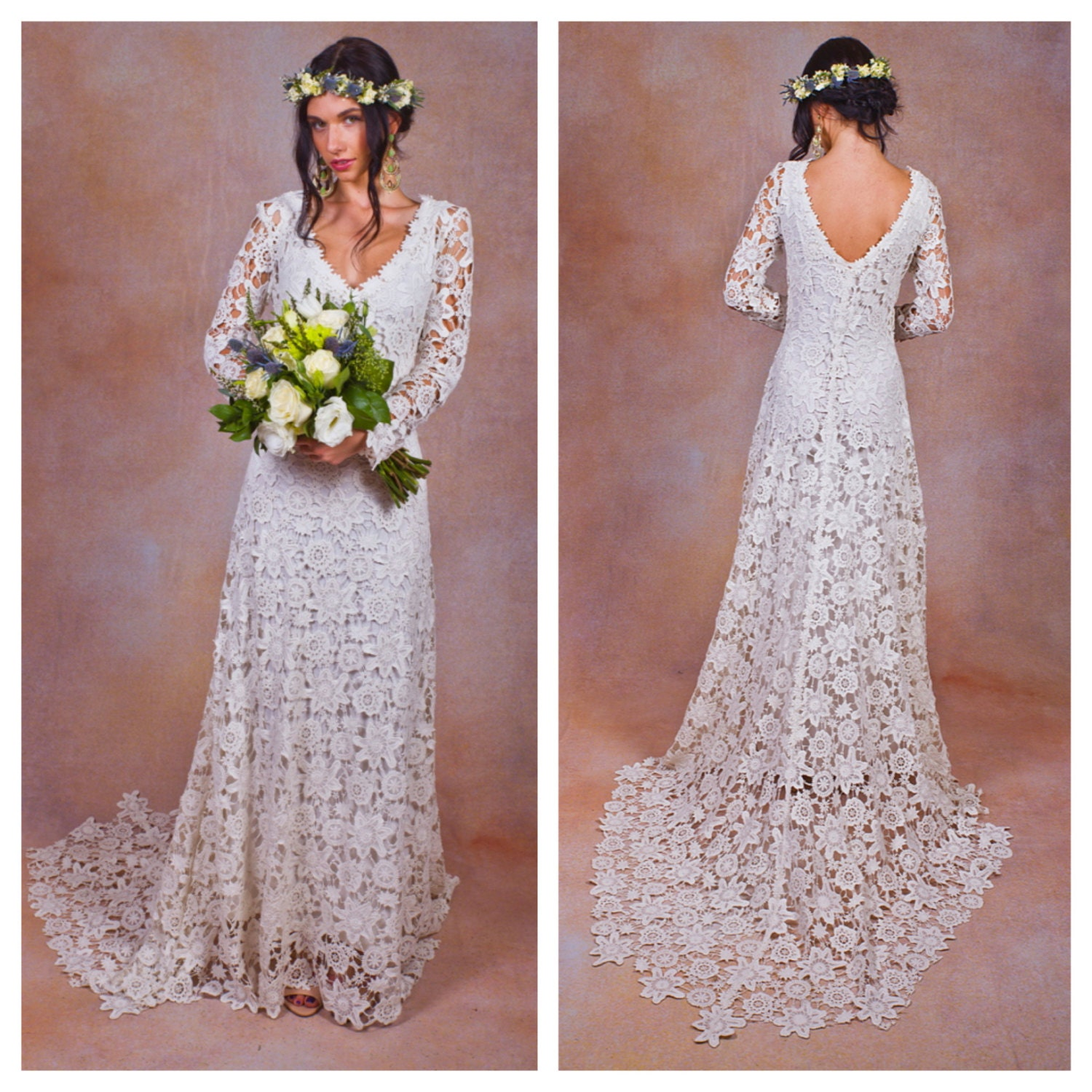 Rustic boho wedding dress simple crochet lace bohemian for Bohemian wedding dress shops