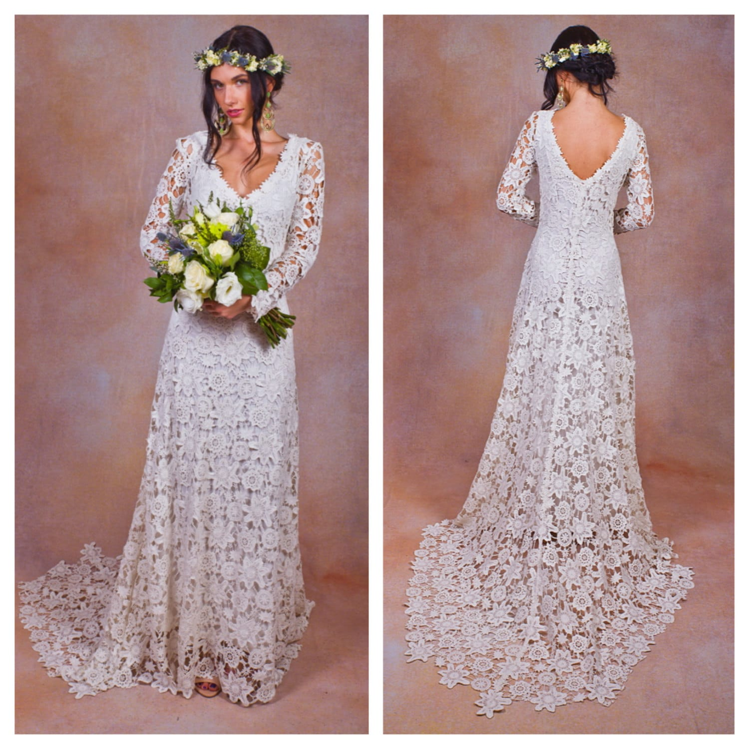 Rustic boho wedding dress simple crochet lace bohemian for Boho country wedding dress