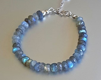 Labradorite BRACELET with Sterling Silver Extender Chain and Heart Charm