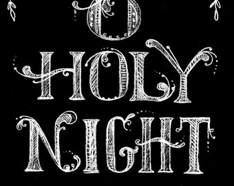 Christmas Chalk Art Instant Download Print Holy Night Christian/bible/cards