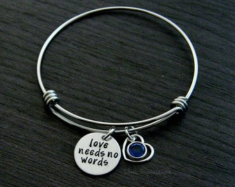 Love Needs No Words / Autism Awareness Bracelet / Hand Stamped Wire Bangle Bracelet