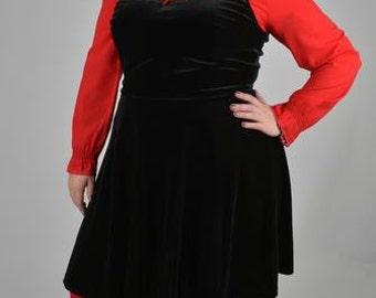 New Black Velvet Skater Dress Size 20 22 24