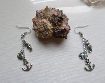Nautical Seahorse Fish And Anchor Earings