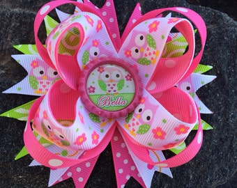 Owl Personalized Name Bottlecap Boutique Hairbow