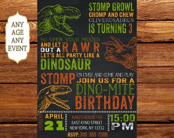 Dinosaur Invitation, Dinosaur Birthday Invitation, T-Rex Invitations,  Dinosaur Invitations, Dinosaur Party, Printables, Personalized 191