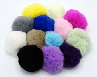 1pcs x 8CM Rabbit Fur Ball, DIY Real Rabbit Fur ball , Furry Pompom, Fur Pom Pom,Phone Tag/ Keychain Charm TZ455