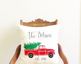 personalized Christmas pillow cover, old truck pillow, farmhouse Christmas pillow cover, Christmas gift, Christmas decor farmhouse Christmas