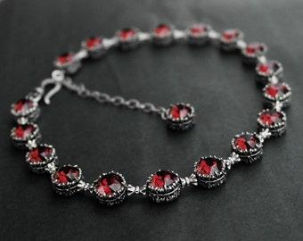 Dark Red necklace gothic Jewelry Gothic Choker Burgundy Choker Swarovski Crystal Choker necklace dark silver Red Bracelet Gothic