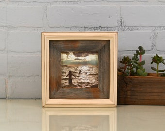 "4x4"" Square Picture Frame in Rustic Reclaimed Cedar Build Up Style with Vintage Ivory Finish - IN STOCK - Same Day Shipping - 4 x 4 Frame"