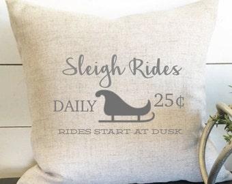 Sleigh Rides Pillow Cover, Christmas Pillow, Christmas Gift, Sleigh Ride Decor, Gift, Holiday Decor
