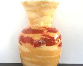 Orange and Red Vase // Hand Painted Glass // Decorative Vase
