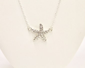 Sparkly Silver Starfish Connector Pendant Necklace, Gift For Her, Starfish Jewelry, Starfish Necklace, Starfish Lover Jewelry, Beach Lover