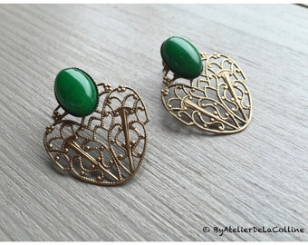Charlize Art Nouveau earrings, with jade cabochon