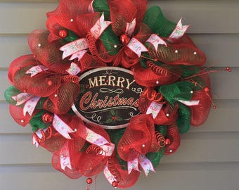 Christmas Wreath for Front Door, Xmas Wreath, Christmas Wreath, Christmas Decor, Mesh Christmas Wreath, Red Green Christmas Wreath