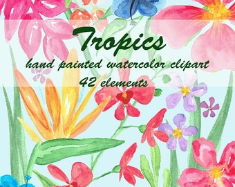 Watercolor Floral Clip Art, 42 Hand Painted Watercolor Floral Elements, DIY clip art, flowers clip art, tropical flowers, exotic flowers