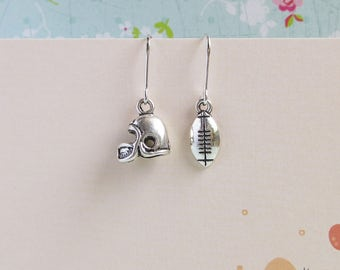 Miniature Football Earrings, Silver Helmet Earrings, Mix Or Match, Sports Fans, Team Spirit Jewelry, Pick Your Own Set