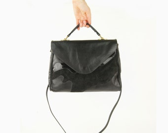 Vintage Large boho chic slouchy tote bag, purse, handbag | Black leather hobo bag | Patent leather and suede accent | 80s Gypsy Bohemian