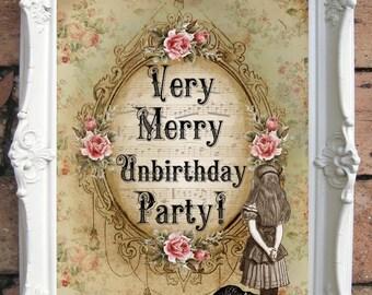 ALICE in Wonderland Print. Unbirthday Party. Shabby Chic Decor. Alice decor Wall Art.Tea Party. Alice print. Alice party decor. Code:A021