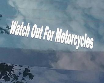 2 Watch Out For Motorcycles Decals Car Truck Fence Window Wall Door decal Sticker Art Gift Harley John  Alex Michael Daniel Jacob Garage